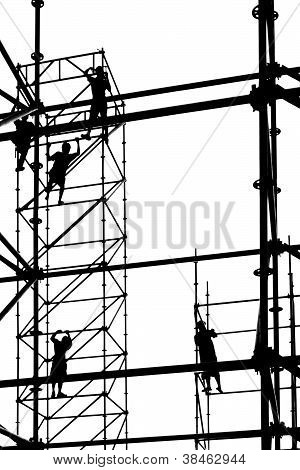 Workers High Up On Scaffolding
