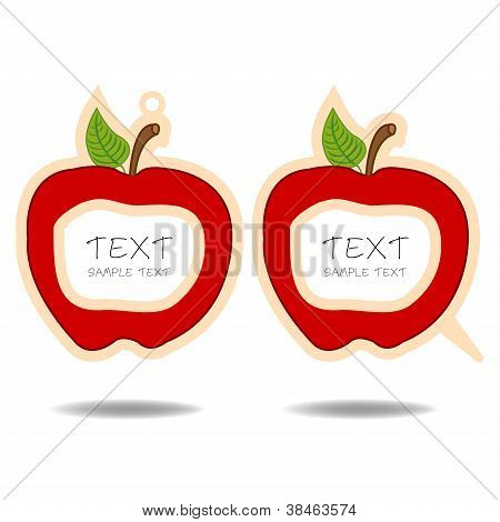 red apple speech bubble and price tag vector