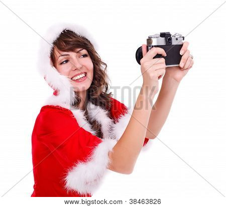 Taking Photo Of Mrs. Santa