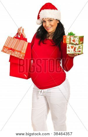 Pregnant Woman  With Christmas Shoppings