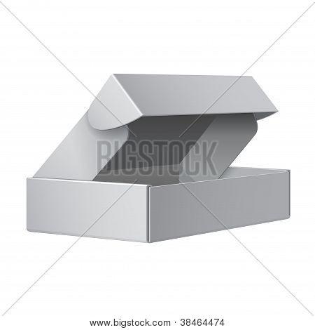 Paquete blanco caja abierta. Para los dispositivos electrónicos