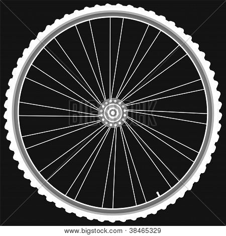 Bike Wheel With Tire And Spokes Isolated On Black Background