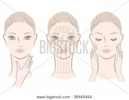 Elegant Woman Massaging Her Face And Neck