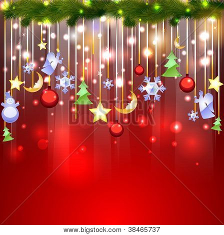 Shiny Red Background With Christmas Decoration