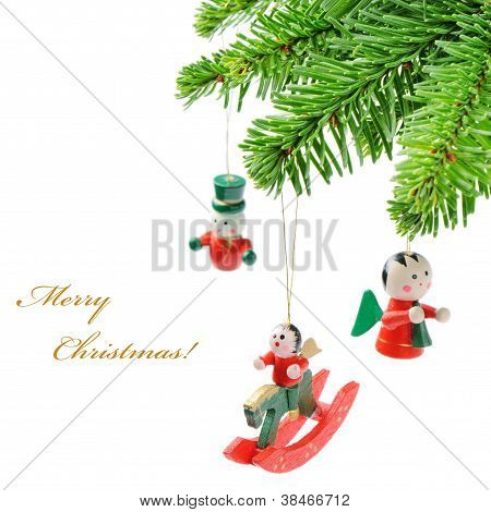 Christmas Tree Branch With Vintage Decoration