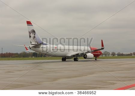 PRAGUE - NOVEMBER 01: A Norwegian Air Shuttle Boeing 737-800 taxis on November 01 2012 in Prague Cze