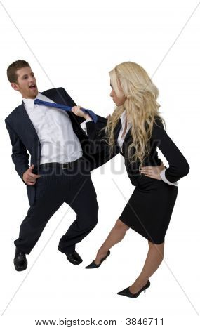 Female Pulling Tie Of Man