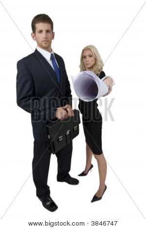 Architects With Bag And Chart