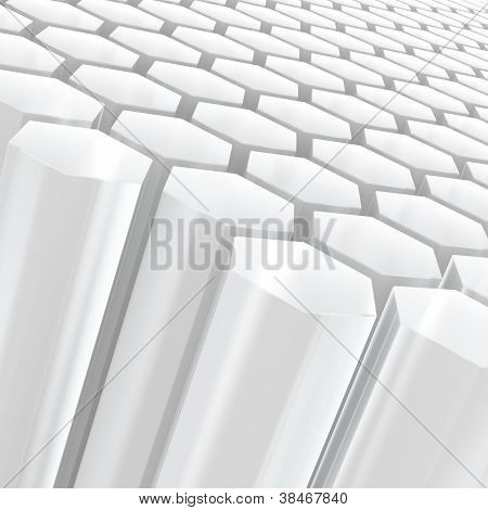 Hexagon Composition Semitransparent White