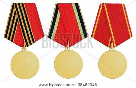 Set Of Medal On White