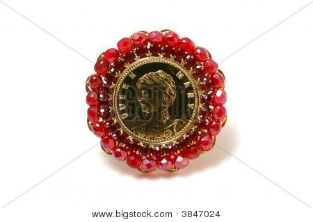 Red Brooch With Queen