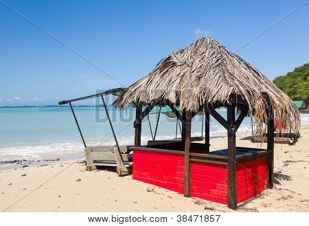 Bar On Beach Covered In Sand After Storm
