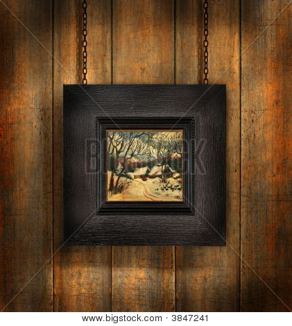 Dark  Frame Against Wood  Background