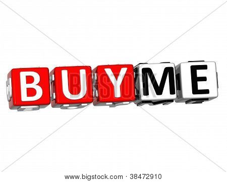3D Buy Me Button Click Here Block Text