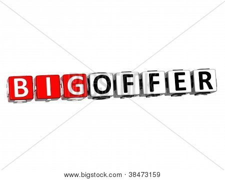 3D Big Offer Button Click Here Block Text