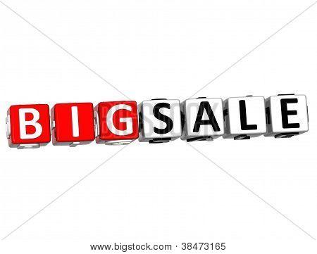 Clique do botão 3D grande venda aqui bloco de texto