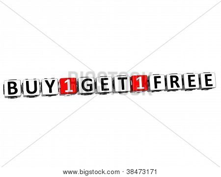 3D Buy One Get One Free Button Click Here Block Text
