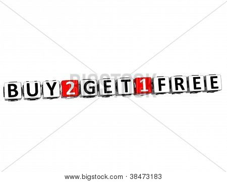 3D Buy Two Get One Free Button Click Here Block Text