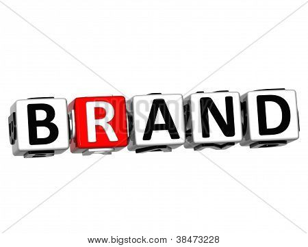 3D Brand Button Click Here Block Text
