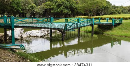 Broken Green Bridge In The Park