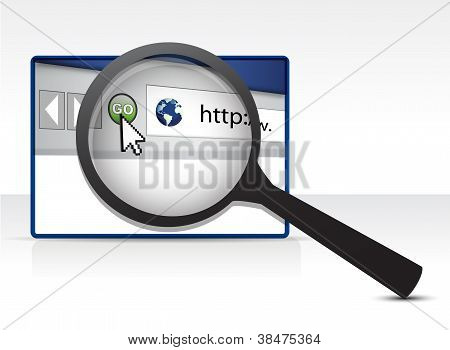 Browser Under A Magnify Glass