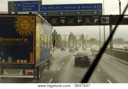 Motorway Traffic In Wet