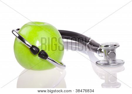 Stethoscope and apple