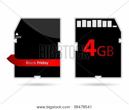 Sd Card With Special Red Ribbon And Black Friday Text