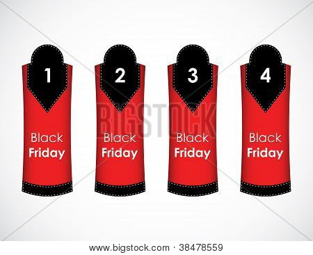 One Two Three Four - Vector Paper Tag With Black Friday Text