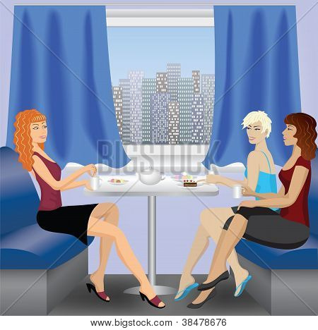 Woman Sitting And Talking In Cafe