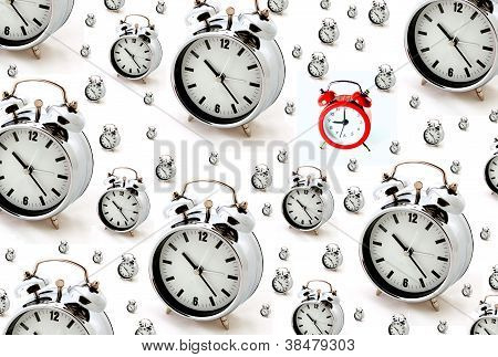Red and Silver Alarm Clocks