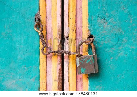 Vintage Lock And Chain On An Door