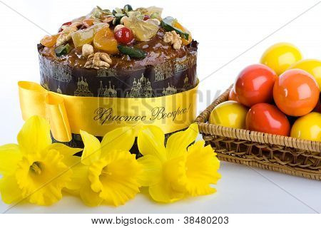 Easter Dessert Paskha, Eggs In Woven Basket, Daffodils On The White