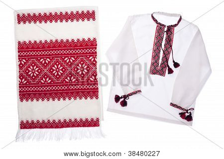 National Ukrainian Symbol Embroidered Handmade Towel And Shirt Vishyvanka Isolated