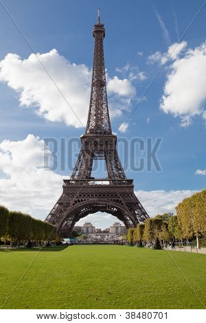 National Landmark Eiffel Tower Through Trees In Paris France