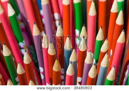 Decorated Pencils Close-up