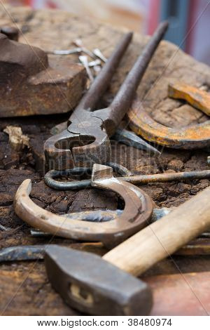Blacksmith Tools And Horseshoes Close-up