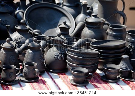 Handmade Ceramic Pottery At Street Handicraft Market