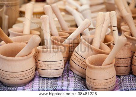 Handmade Wooden Pounder, Pestle At Street Handicraft Market