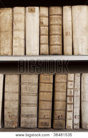 Covers Of Old Ancient Books Monuscripts On Shelves In Bookcase