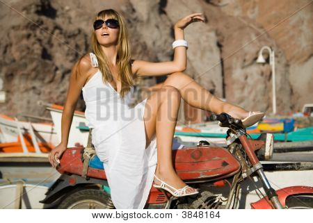 Fashion Woman With Motorcycle