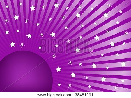 Abstract Background Purple With White Stars