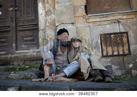 Desperate homeless family