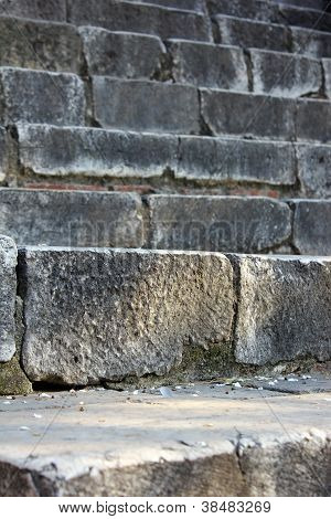 old stone stairs at a portuguese medieval castle