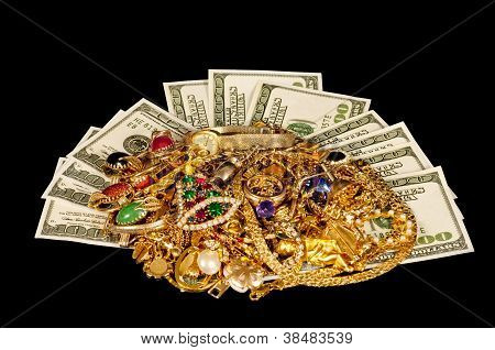 Cash With Gold Jewelry on Black Cloth Background