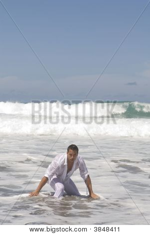 Man In The Seaside After A Ship Accident