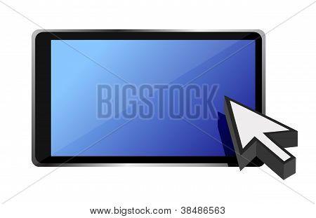 tablet computer and cursor illustration design over white