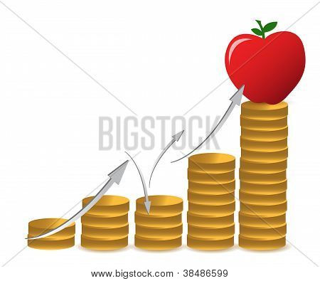 apple and coins graph illustration design over a white background