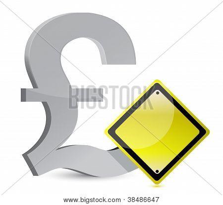 pound warning yellow sign illustration design over white