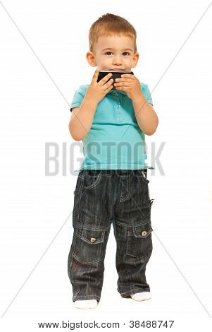Toddler Kissing A Cell Phone